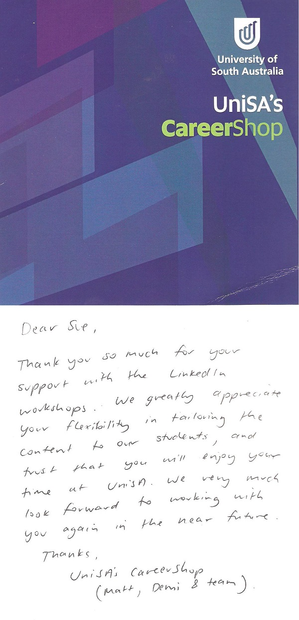 UniSA Career Shop Thank You Card