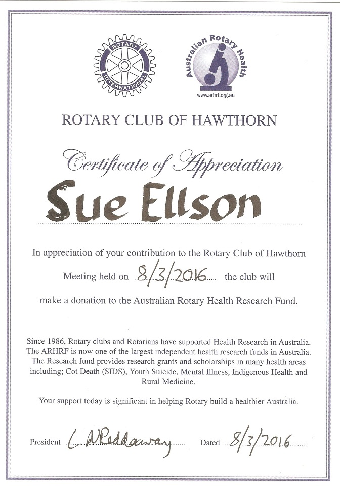 Rotary Club of Hawthorn Certificate of Appreciation Sue Ellson