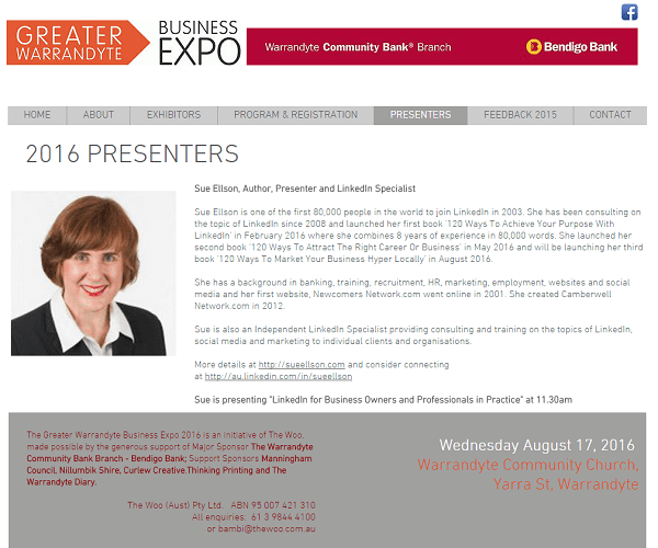 Greater Warrandyte Business Expo Presenter Sue Ellson