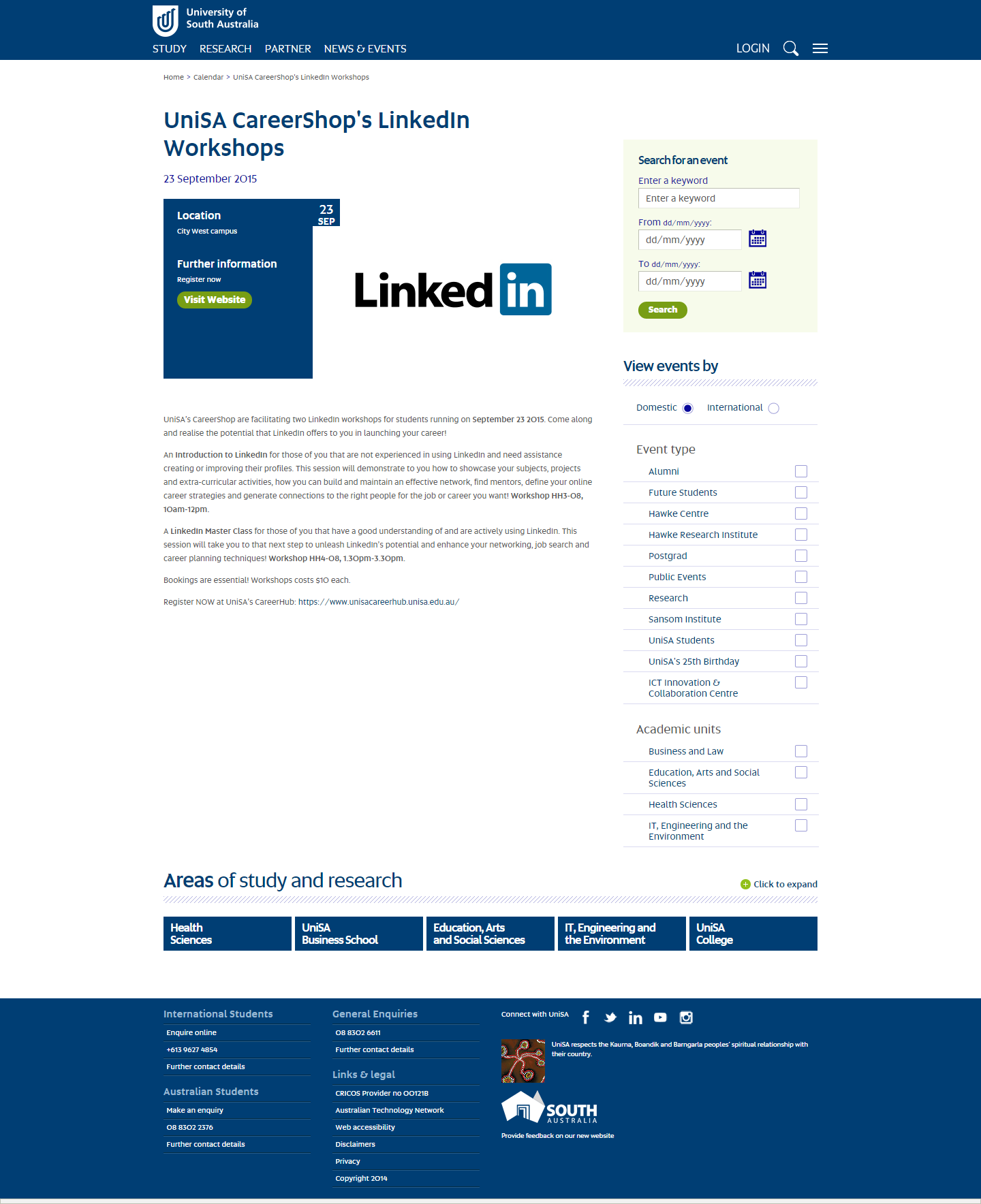 University of South Australia LinkedIn Workshops