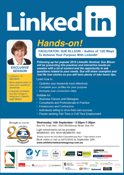 Whitehorse Business Group LinkedIn Hands On Workshop with Sue Ellson