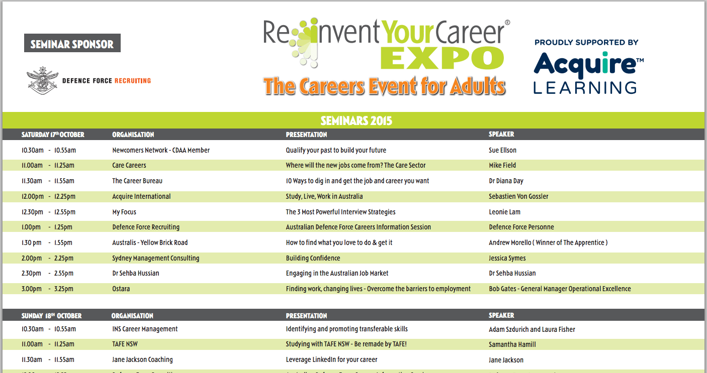 Reinvent Your Career Expo Sydney Qualify Your Past To Build Your Future